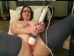 Busty younh asian gf With Glasses Hitachi Orgasm