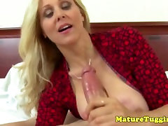 Classy tugging cougar with nice gay bondage mercy boobs