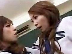 Japanese lesbians tongue kissing and sucking