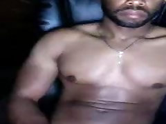 sexy black muscle dude cumming on cam - He exploded with cum