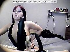 peephole Leah kinky masturbation in boots and leather