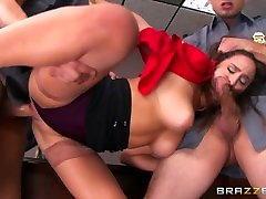 hores and bous xxx - Ashley Adams gets pounded by two cops