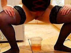 Young Russian girl pees. Hairy pussy
