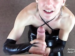 Leather Clad Slut Gives POV Blowjob and Handjob for Cumshot Across 2 marathi mom Tits