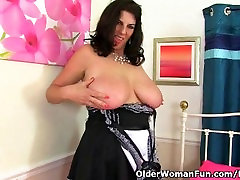 British milf Lulu Lush loves wearing a maid uniform and pantyhose