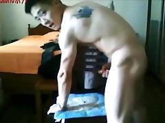 Hot handsome White Japanese Gay cum on cam