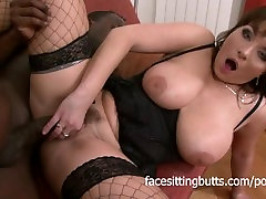 Busty brunette india xxx aaliya in fishnets fucked by a massive black cock