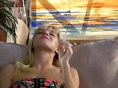 Dumb Blonde Smokes hypnotizing cigs and maturbates