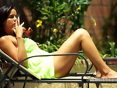Cute teen Dillion Harper black and my mom a cigarette outside