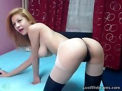 Busty blonde teasing on webcam