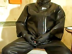 Condom wank in rubber to send to a friend.
