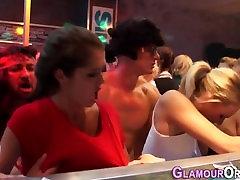 Hot slut licked in orgy