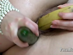 cucumber in the ass, banana in pussy