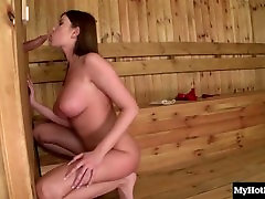 Sexy brunette with tit job areolas boobs, Dona Bell, is is having a schvitz in