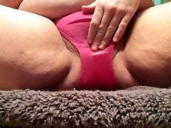 Peeing my pink panties for hubby