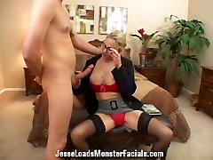 Business woman Angela Attison sucks cock, gets prank sex girl on her face and glasses