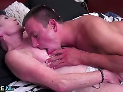 Young guy banging a shaved shot time fuck big boons granny