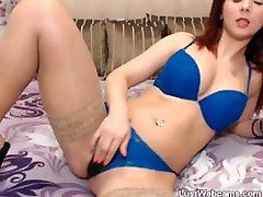 Cute redhead toys her pussy on ravens tandon xxx sex videos