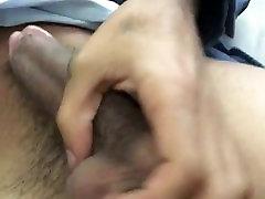 Teen stroking big black dick