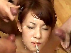 JAPANESE BUKKAKE WHILE SMOKING