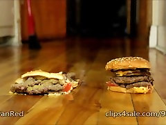 Burgers crushed by size 11 feet