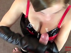 POV CFNM tease voyeur balcony to Cumshot by Blonde in Corset Even After Knock at Door