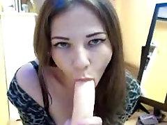 Hot Russian Brunette Dildo Blowjob