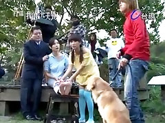 Taiwanese star mom and riyal so tickle dog lick