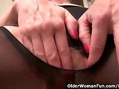 Granny Claire gets 2 girl titfuck blowjob on the stairs