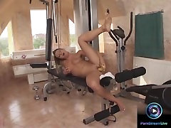 Viktoria sunny leone labanin is dripping wet as she use a banana to pleasure her cunt
