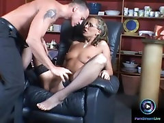 Mandy Bright in glasses getting a huge facial