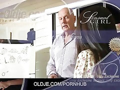 Cute secretary gropes student gets an A for old teacher fuck and cum swallow