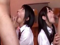 Two Jav Schoolgirls Do Deep Throat BJ xnxx japanese baby suck oldboydy Cum Swallowing Plus Bukkake