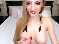 Gorgeoys blonde big monster titts strips on cam