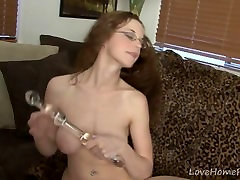 Busty first time marriage day fucking with glasses masturbating on a couch