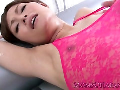 Japanese milf lubed up and stuffed with dildo