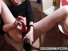 busty milf playing with big toy