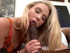 HD Blonde with nice ass fucks 12 inch massive black cock!