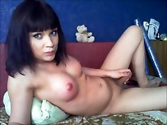 Gorgeous brunette transsexual on cam.