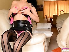 Super Hot rapped criminal Angie Fucks Herself With Pink Dildo On Sofa In Lingerie
