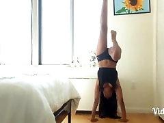 Sexy Ebony doing Erotic Yoga in Bedroom