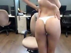 Amazing new homemade sex tape Big Boobs Brunette Strips And Rubs Her Pussy At Work Office