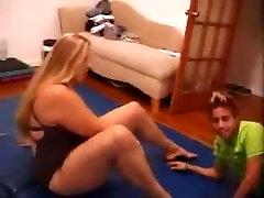 Tall amazon Katrina mixed wrestling