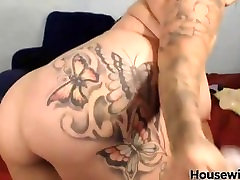 Bad tattooed facial bitch Brittney with bouncing boobs and cumming dildo
