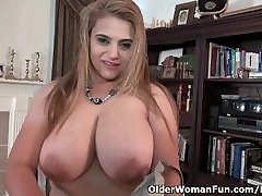 Busty milf Mia Jones loves stripping off for you