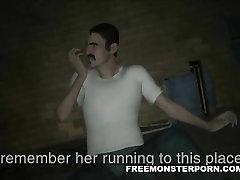Susijusi 3D animaciją zombie mergina gauti pirštu geras