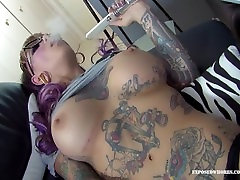 Tattooed Punk Chick With Huge Tits Smokes Hookah While Sucking Cock