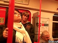Guy picks up busty mature lady in metro