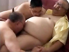 Chubby Japanese Daddy Threesome