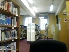 fur coat flashing in libary